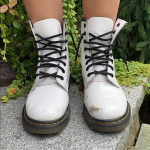 Dr. Martens Shoes - DR. MARTENS 1460 WHITE 8 EYE BOOTS